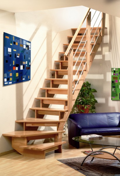 Keepboom trap in beuken hout for Goedkope trappen op maat