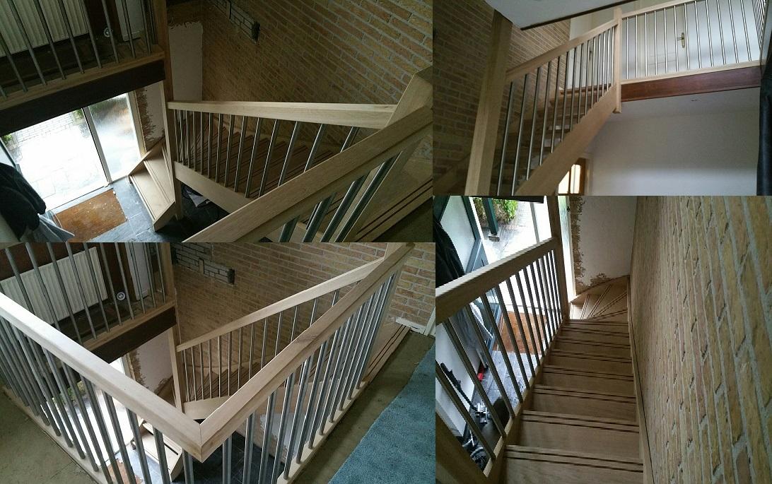 Eikenhouten trap met rvs spijlen for Goedkope trappen op maat