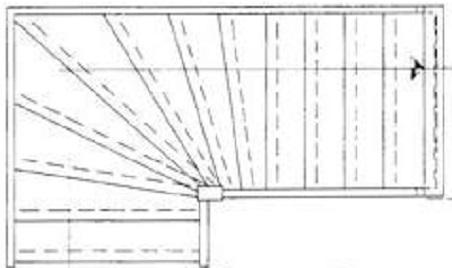 Trap maten van een onderkwarttrap rechtsdraaiend berekenen for Traphoogte berekenen